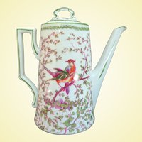 A Colorful Old Porcelain Austrian Coffee Pot