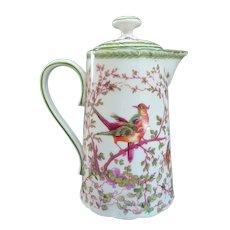 A Colorful Old Porcelain Austrian Chocolate Pot