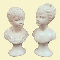 Vintage Napco Busts of Children, 1960s, After Jean Antoine Houdon's Brongniart Children
