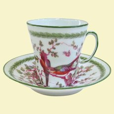 Delicate Austrian China Demitasse Cup and Saucer Colorful Birds