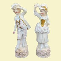 19th C Fine European Porcelain Figures, Boy and Girl