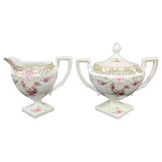 Art Deco Footed Porcelain Creamer and Covered Sugar