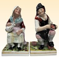 A Pair of Staffordshire Figures Cobbler and Wife Jobson & Nell 1840 to 1850