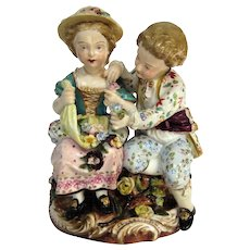 A Meissen Group, Boy and Girl Examining Flowers, C1820s - Red Tag Sale Item