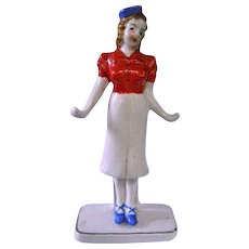 50s Ceramic Red Letter Japan Ring Holder Stewardess Hostess