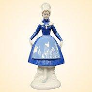 Vintage Danish Farm Girl Porcelain Figurine From Denmark Marked Ebeltoft Mols 1785