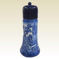 A Vintage Staffordshire Cobalt Blue Transferware Muffineer or Sugar Shaker