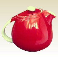 "Hall Art Deco ""Sani-Grid"" Chinese Red Teapot 1940s"