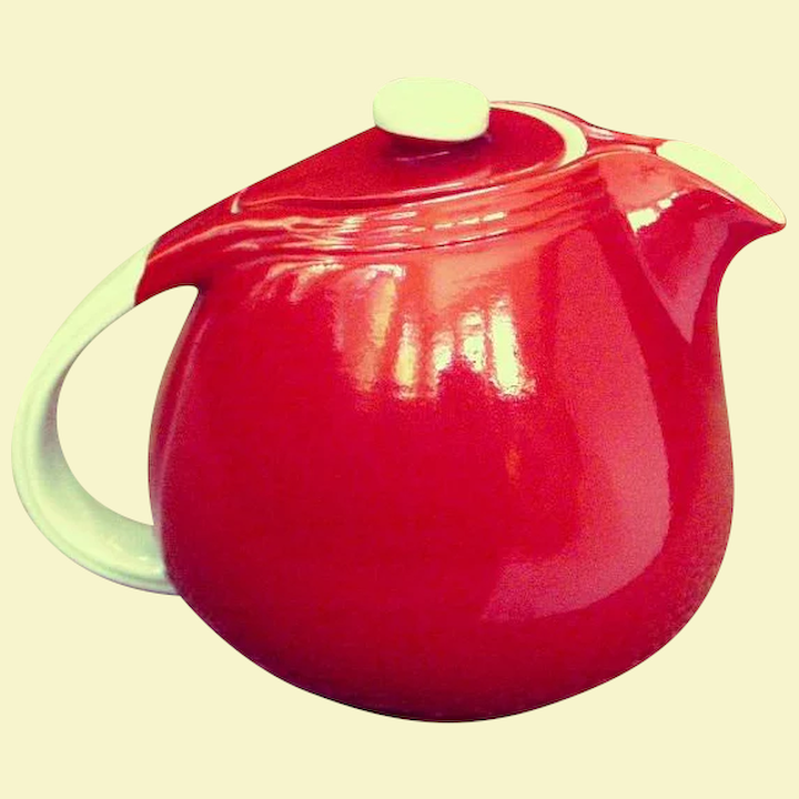 Hall Art Deco Sani Grid Chinese Red Teapot 1940s Tradewinds Antiques Ruby Lane