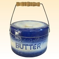 A Beautiful Vintage Butter Crock With Bail Handle