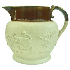 An Early Adams Caneware Sprigged Milk Jug, Circa 1806-1812
