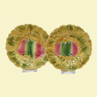 A Pair of French Sarreguemines Majolica Fruit Plates