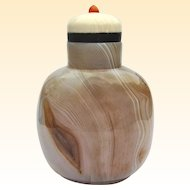 An Excellent Banded Agate Chinese Snuff Bottle