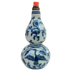 An Unusual Cabash Shaped Porcelain Chinese Snuff Bottle