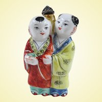 A Cute Vintage Porcelain Chinese Snuff Bottle Brother and Sister