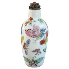 A Republic Period Porcelain Chinese Snuff Bottle Circa 1900-1940 Butterflies