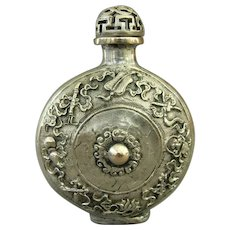 An Intricate Vintage Silver Alloy Chinese Snuff Bottle