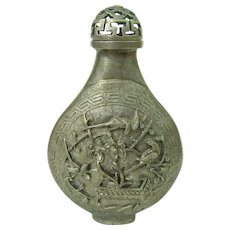 A Vintage Silver Alloy Chinese Snuff Bottle