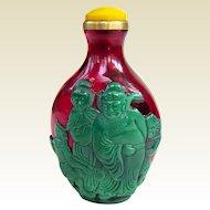 An Excellent Peking Overlay Chinese Snuff Bottle Ghost Killer Zhong Kui