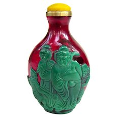 An Excellent Peking Overlay Chinese Snuff Bottle Ghost Killer Zhong Kui