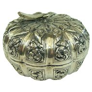 An Unusual Antique 800 Silver Pumpkin Shaped Trinket Box