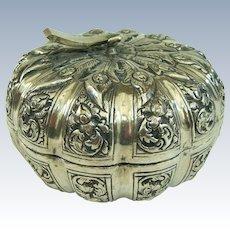 An Unusual Antique 800 Silver Pumpkin Shaped Trinket Box