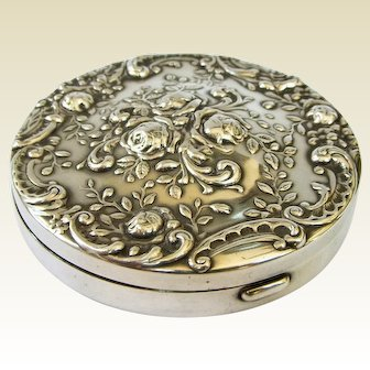 Vintage Gorham Sterling Silver Mirror Compact With Amusing Engraving