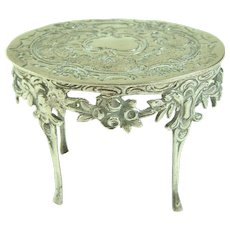 An Elaborate Antique 800 Solid Silver Dollhouse Table