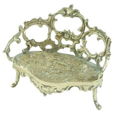 An Elaborate Antique 800 Solid Silver Dollhouse Settee or Couch