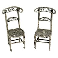 Two Tiny Antique Solid Silver Filigree Dollhouse Chairs