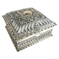 An Exquisite Antique English Sterling Silver Presentation Box 1900