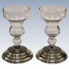 Elegant Sterling Silver Mounted Glass Cup Candlesticks