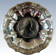 Cute 800 Silver Dish with Austrian Maria Theresa Thaler Coin in the Center