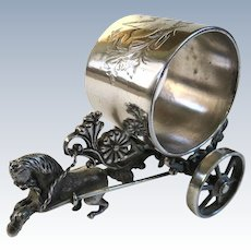 Cute Meriden Silver Plate Figural Napkin Ring Horse And Cart