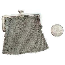 Lovely Austro-Hungarian 800 Silver Mesh Coin Purse 1901-1921