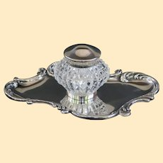 An Antique Art Nouveau Sterling Silver and Crystal Inkwell and Inkstand
