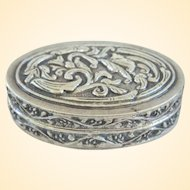 Ornate Repousse 800 Continental Silver Pill or Snuff Box