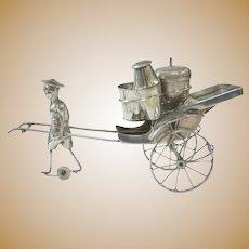 Neat Vintage Hong Kong Silver Plate Rickshaw Condiment Set