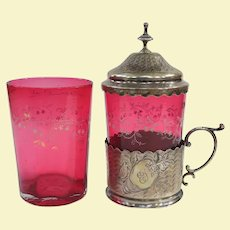 Antique Enameled Ruby Overlay Tumblers And An Elaborate 800 Silver Lidded Holder
