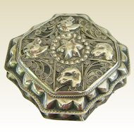 Unusual Dutch .833 Dogs and Horses Silver Snuff Box Dated 1863