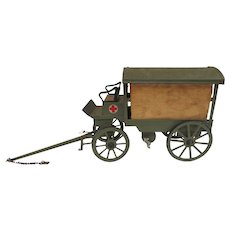 O&M Hausser Toy WWI Red Cross Ambulance Wagon
