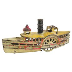 Wonderful Antique Wilkins Cast Iron Toy Steamboat or Paddleboat