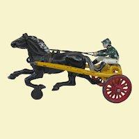 Kenton Cast Iron Toy Sulky Horse and Jockey Circa 1920