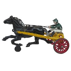 Kenton Cast Iron Toy Sulky Horse and Jockey Circa 1920