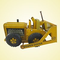 1950s Line Mar Tin Litho Power Dozer Bulldozer Toy