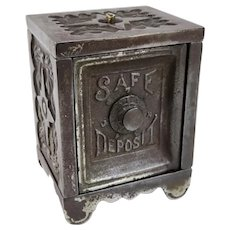 An Early Cast Iron Toy Safe Deposit Bank Patented 1897