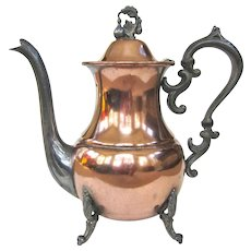 An unusual Old Silver on Copper Silverplate Teapot