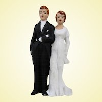Vintage Bisque Wedding Cake Topper 1950s
