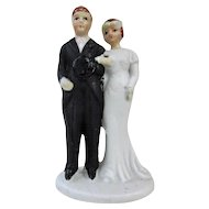 Old Bisque Wedding Cake Topper, 1920s Top Hat!
