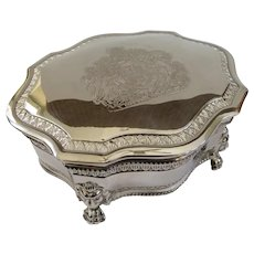Excellent Vintage British Silver Plated Jewelry Box With Royal Coat of Arms